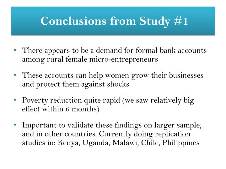 Conclusions from Study #1