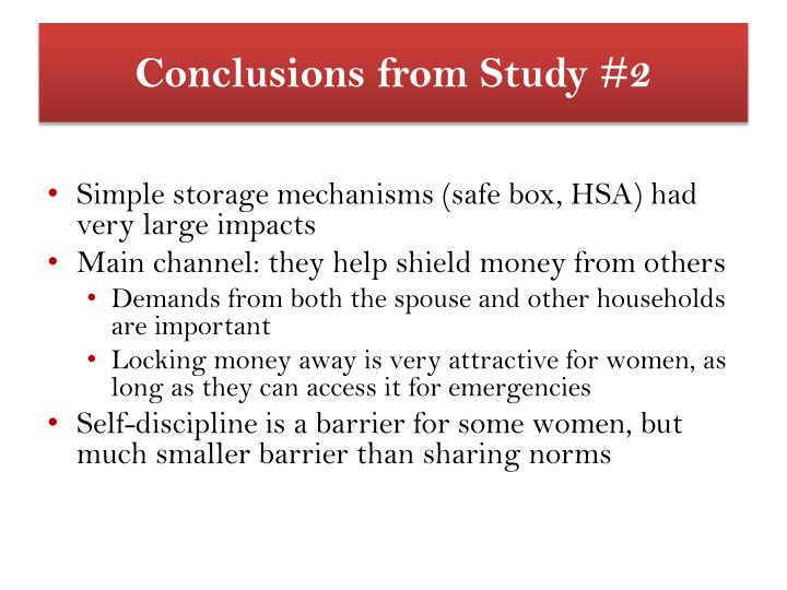 Conclusions from Study #2