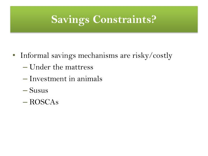 Savings constraints