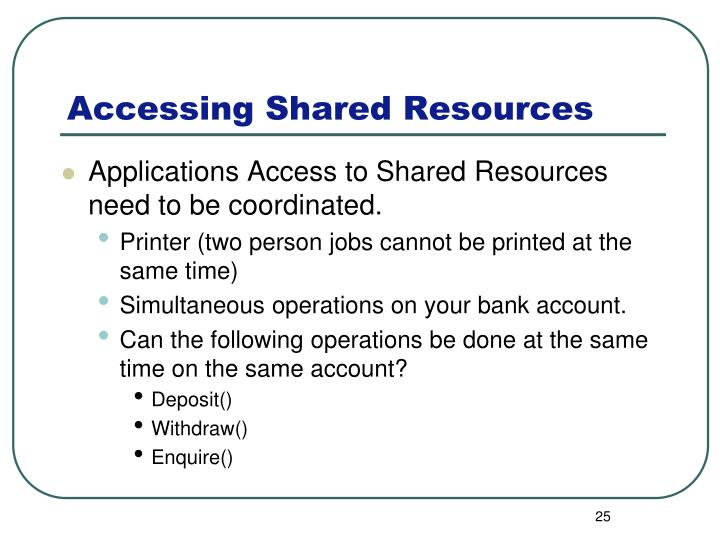 Applications Access to Shared Resources need to be coordinated.