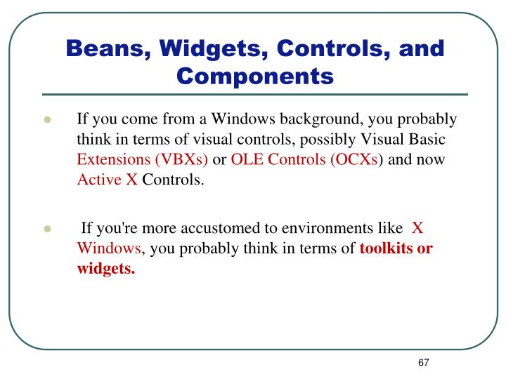 If you come from a Windows background, you probably think in terms of visual controls, possibly Visual Basic
