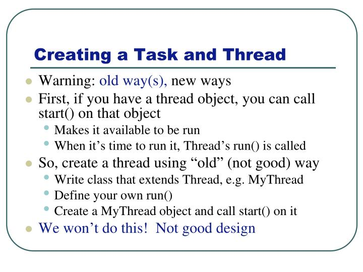 Creating a Task and Thread