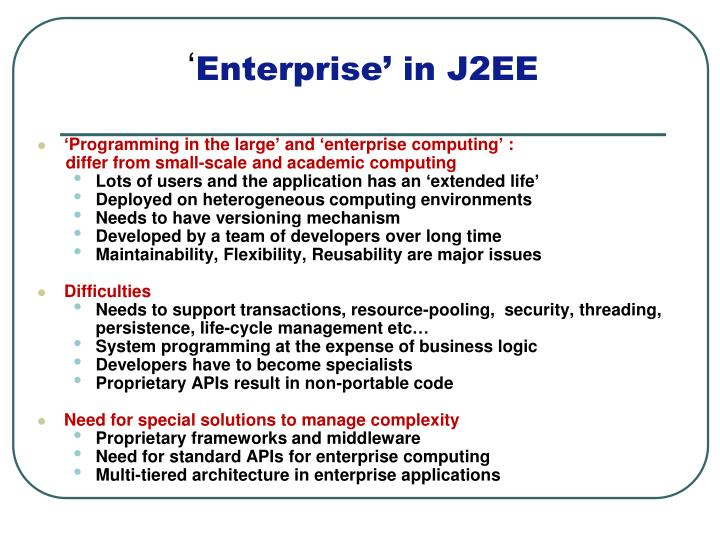 'Programming in the large' and 'enterprise computing' :
