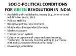 socio political conditions for green revolution in india
