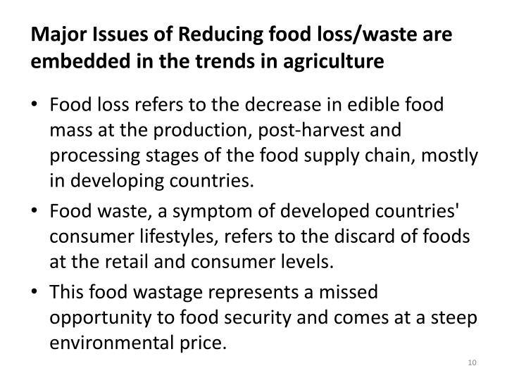 Major Issues of Reducing food loss/waste are embedded in the trends in