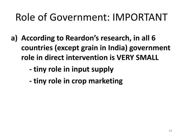 Role of Government: IMPORTANT