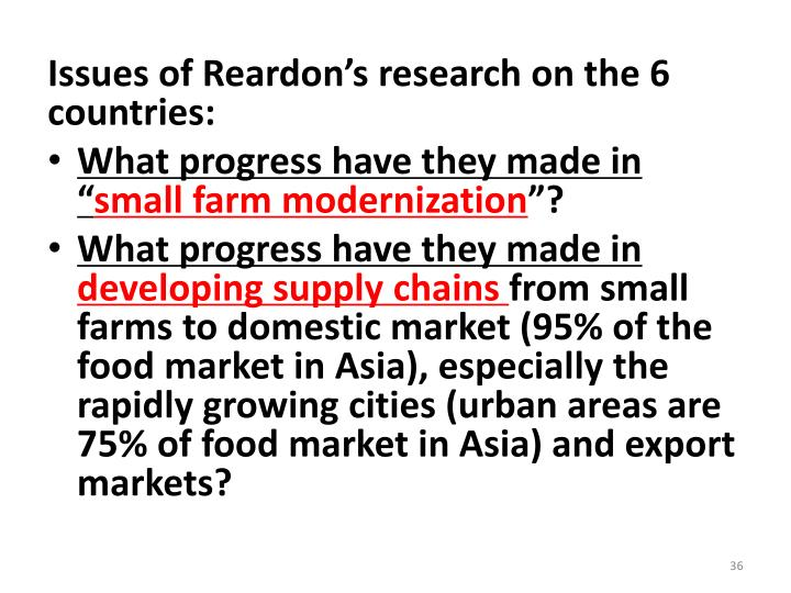 Issues of Reardon's research on the 6 countries: