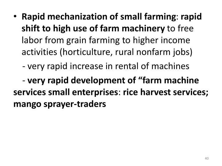 Rapid mechanization of small farming