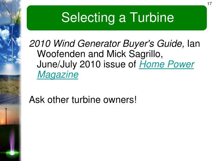 Selecting a Turbine