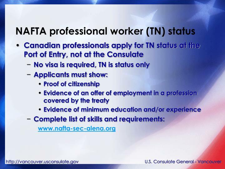 NAFTA professional worker (TN) status