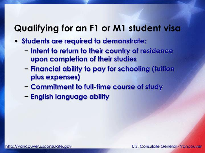 Qualifying for an F1 or M1 student visa