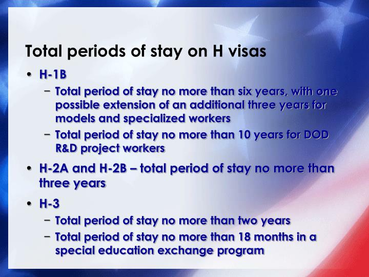 Total periods of stay on H visas
