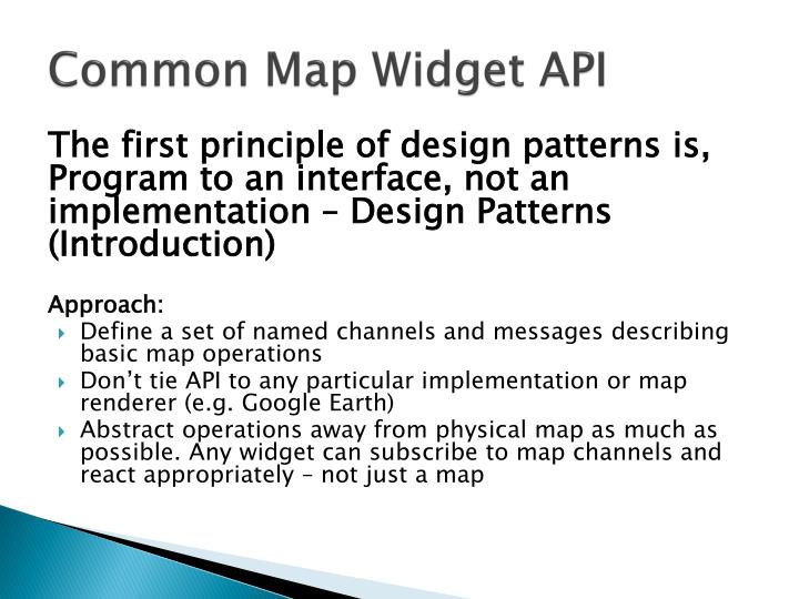 Common Map Widget API