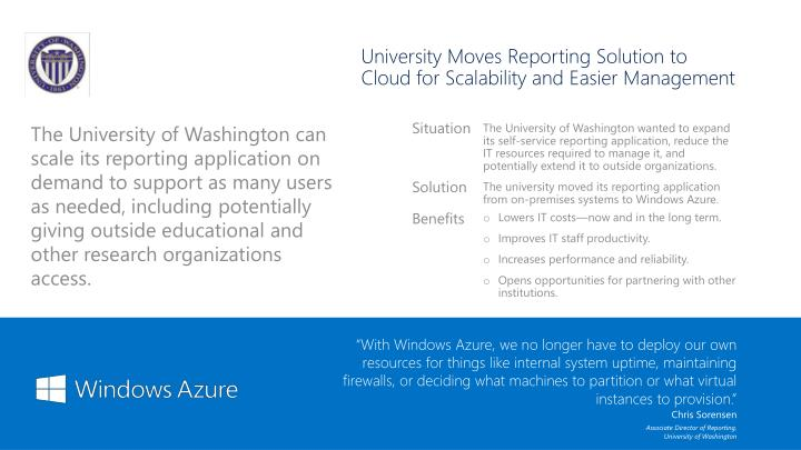 University Moves Reporting Solution to Cloud for Scalability and Easier Management