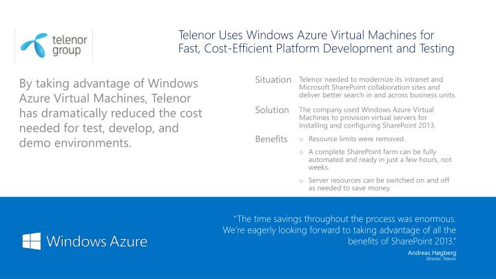 Telenor Uses Windows Azure Virtual Machines for Fast, Cost-Efficient Platform Development and Testing