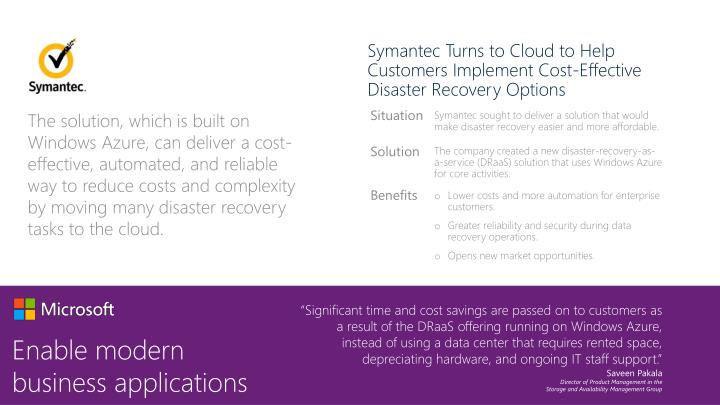 Symantec Turns to Cloud to Help Customers Implement Cost-Effective Disaster Recovery Options