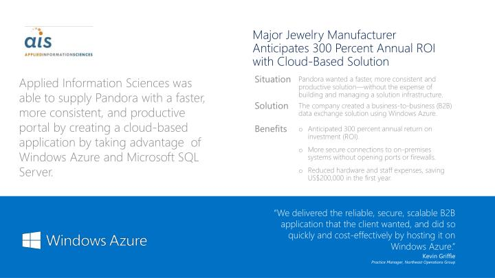 Major Jewelry Manufacturer Anticipates 300 Percent Annual ROI with Cloud-Based Solution