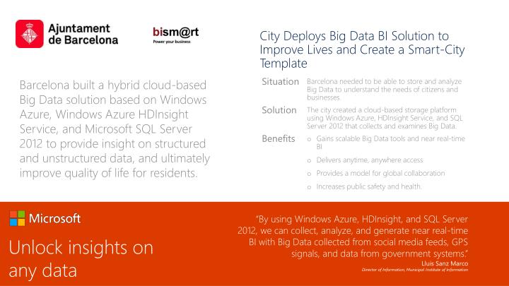 City Deploys Big Data BI Solution to Improve Lives and Create a Smart-City Template