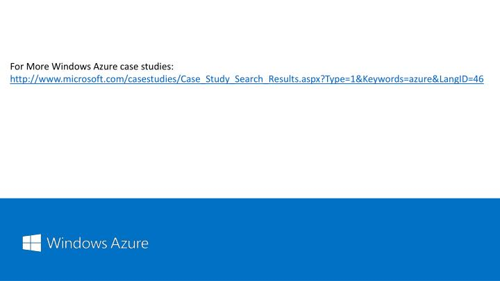 For More Windows Azure case studies: