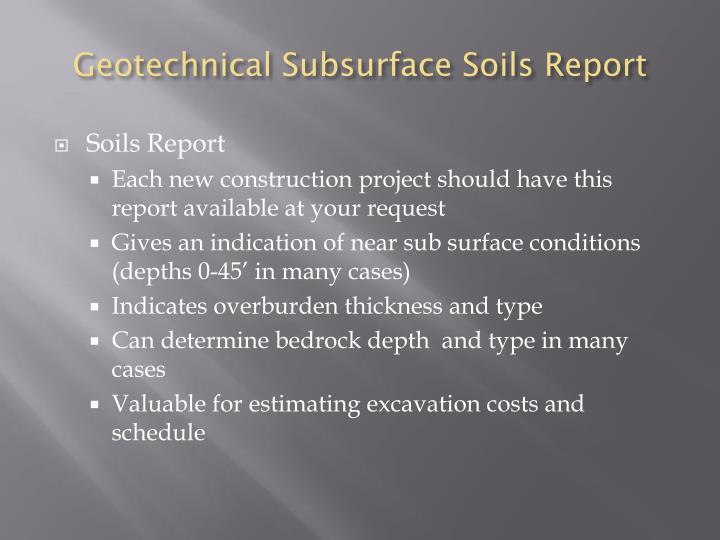 Geotechnical Subsurface Soils Report