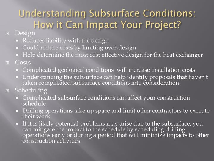 Understanding Subsurface Conditions: How it Can Impact Your Project?