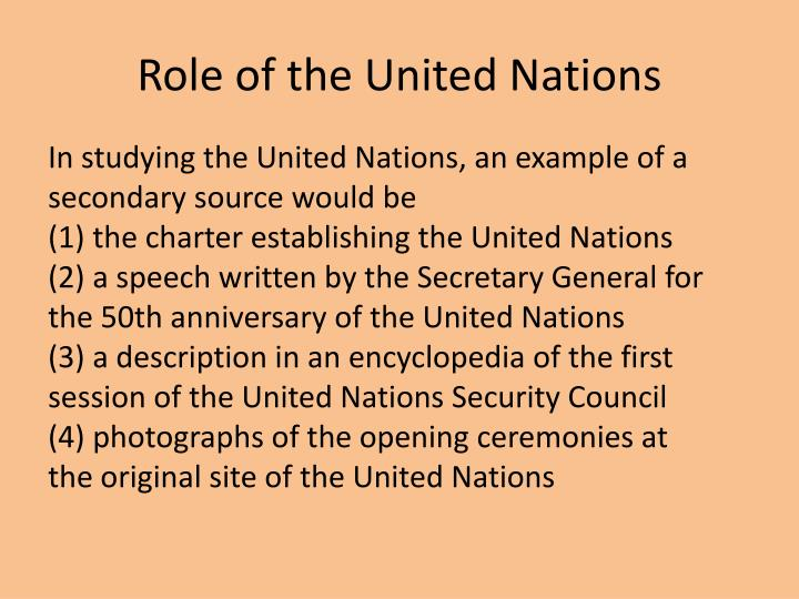 Role of the United Nations