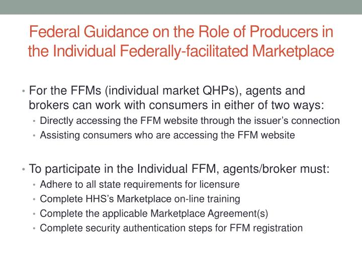 Federal Guidance on the Role of