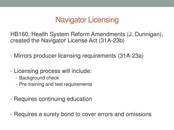 Navigator Licensing