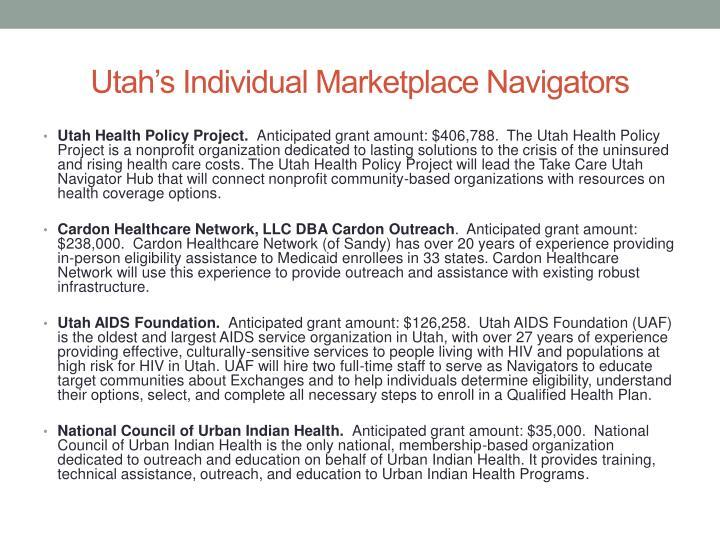 Utah's Individual Marketplace Navigators