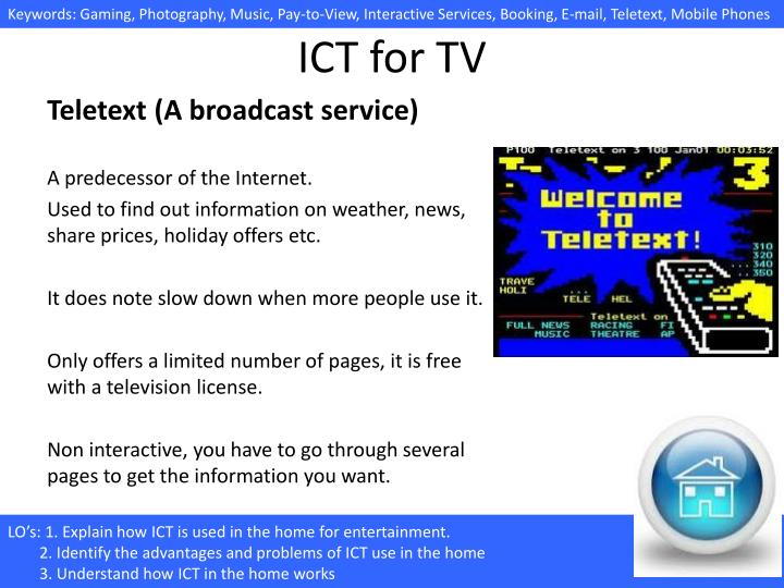 Ppt 4 1 6 C Uses Of Ict In The Home 1 Entertainment