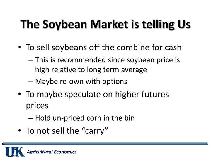 The Soybean Market is telling Us