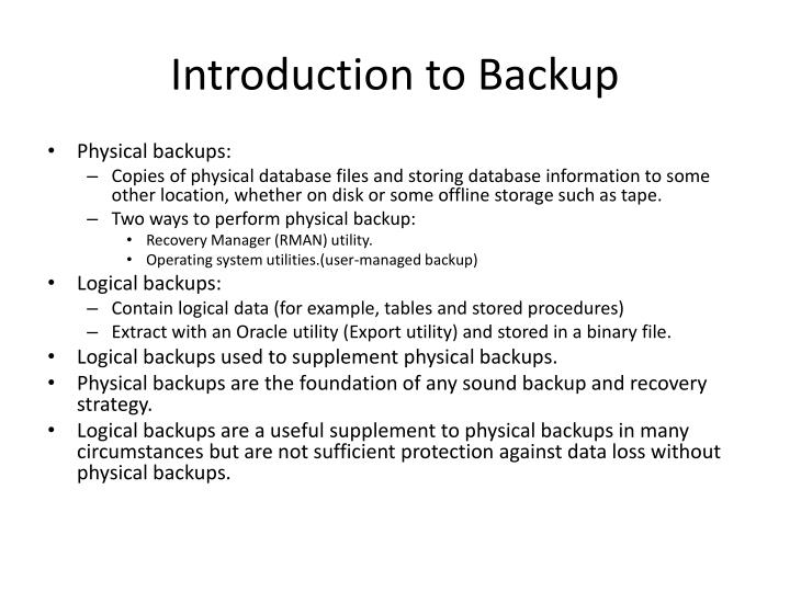 Introduction to Backup