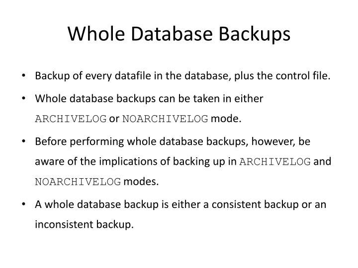 Whole Database Backups