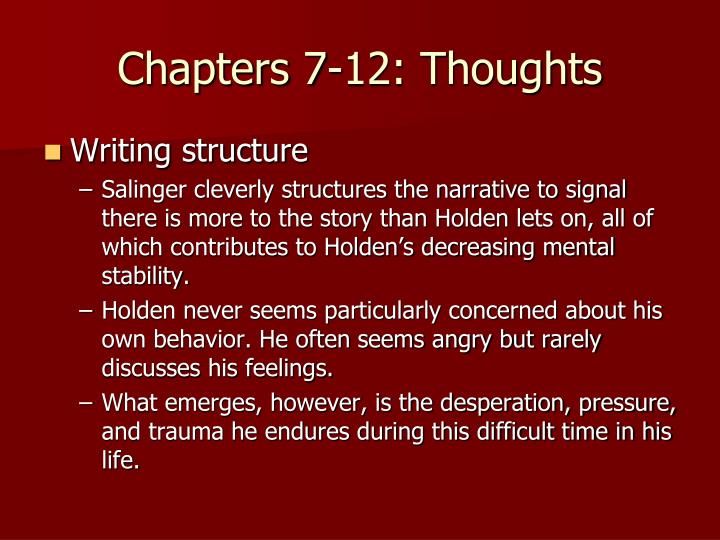 Chapters 7-12: Thoughts