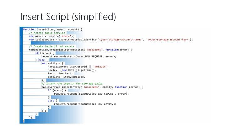 Insert Script (simplified)