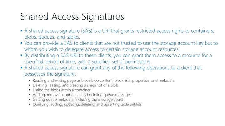 Shared Access Signatures