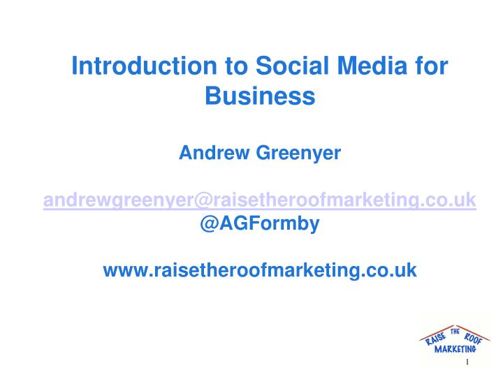 Introduction to Social Media for Business