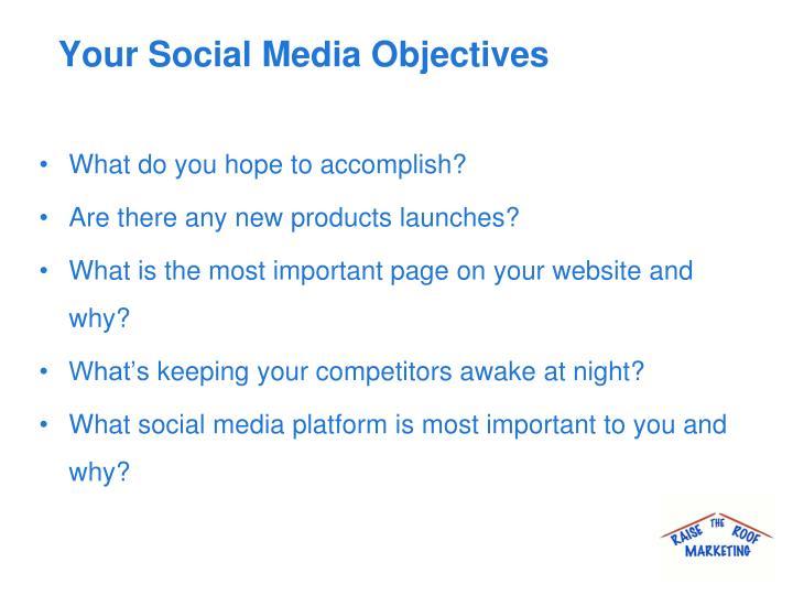 Your Social Media Objectives