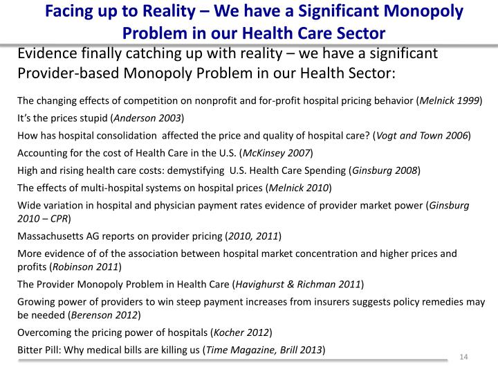 Facing up to Reality – We have a Significant Monopoly Problem in our Health Care Sector