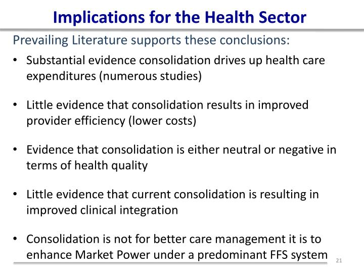 Implications for the Health Sector