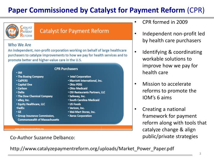 Paper commissioned by catalyst for payment reform cpr