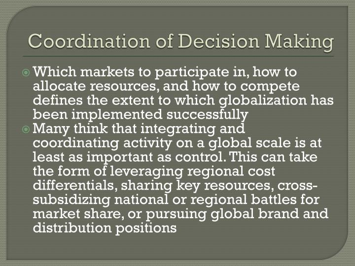 Coordination of Decision Making