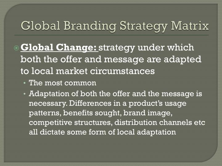 Global Branding Strategy Matrix