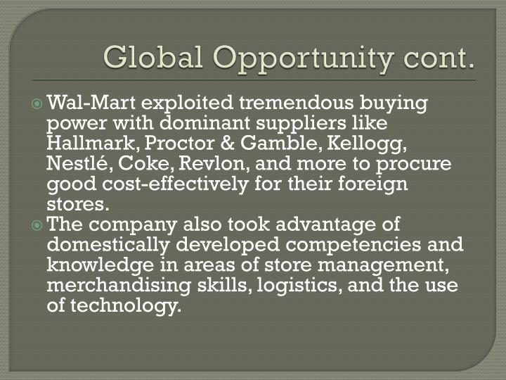 Global Opportunity cont.