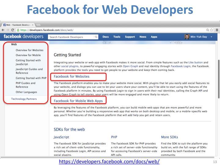 Facebook for Web Developers