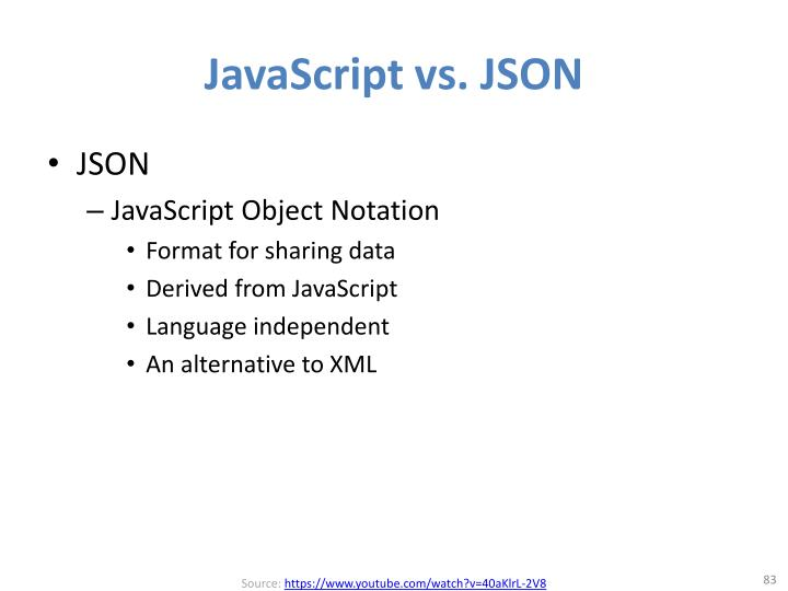 JavaScript vs. JSON