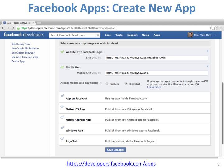 Facebook Apps: Create New App