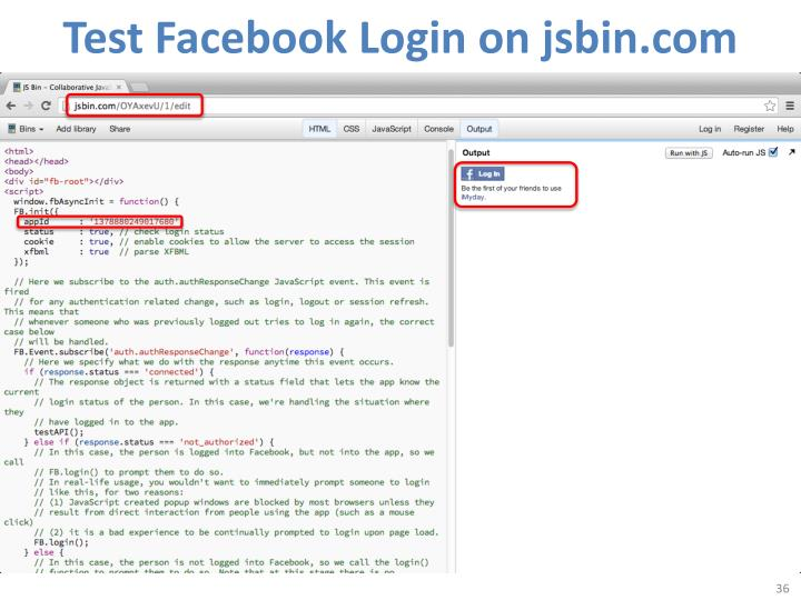 Test Facebook Login on