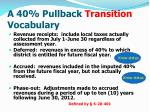 a 40 pullback transition vocabulary