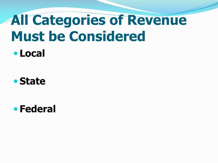 All Categories of Revenue